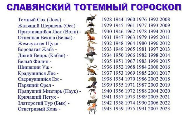 У славян в далекой древности, у наших предков, существовал свой гороскоп, который был основан на тотеме животных, на звериных характеристиках в соотношение черт к человеку.